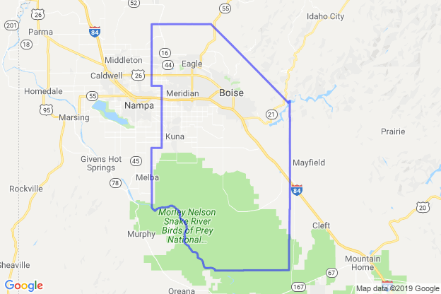 Ada County, Idaho boundary image for MeridianEcon demographic report