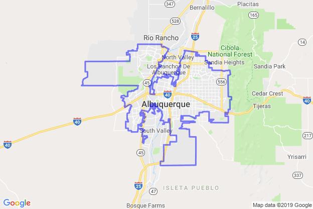 Albuquerque, New Mexico boundary image for MeridianEcon demographic report