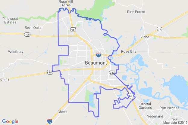 Beaumont, Texas boundary image for MeridianEcon demographic report