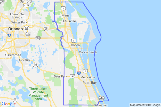 Brevard County, Florida boundary image for MeridianEcon demographic report