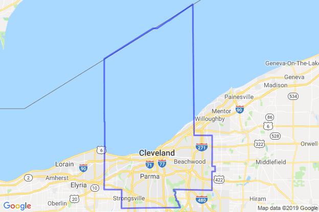 Cuyahoga County, Ohio boundary image for MeridianEcon demographic report