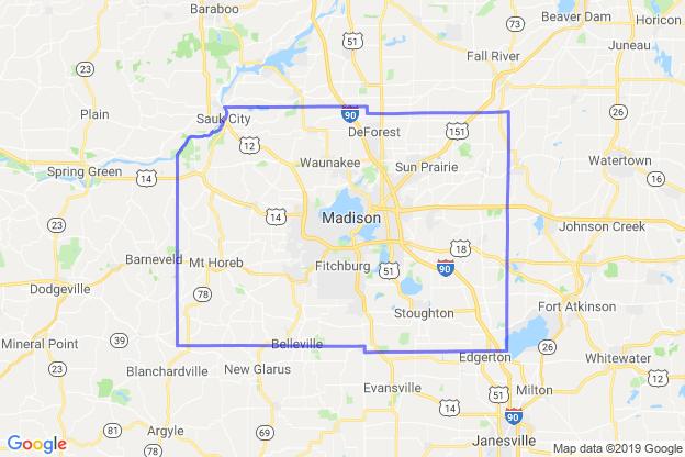 Dane County, Wisconsin boundary image for MeridianEcon demographic report