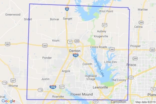 Denton County, Texas boundary image for MeridianEcon demographic report