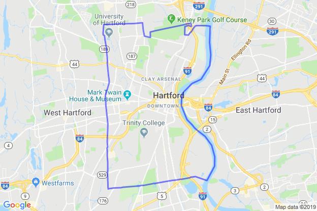 Hartford, Connecticut boundary image for MeridianEcon demographic report