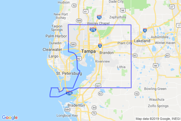 Hillsborough County, Florida boundary image for MeridianEcon demographic report