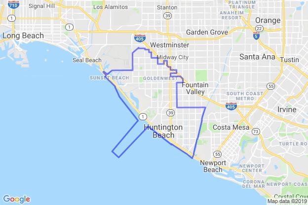 Huntington Beach, California boundary image for MeridianEcon demographic report