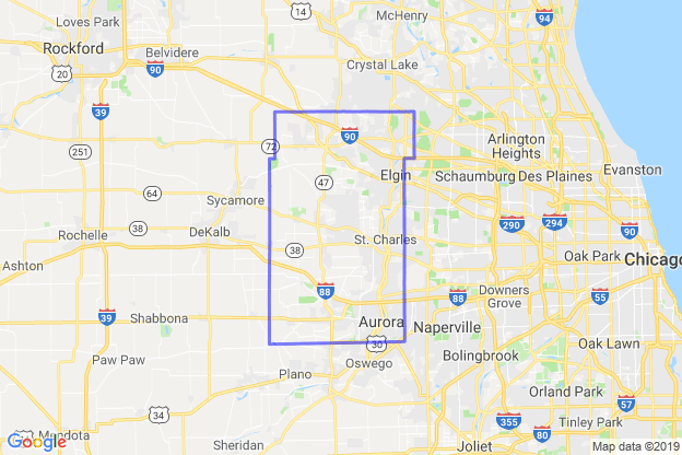 Kane County, Illinois boundary image for MeridianEcon demographic report