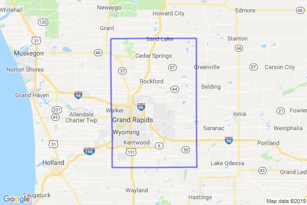 Kent County, Michigan boundary image for MeridianEcon demographic report