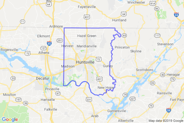 Madison County, Alabama boundary image for MeridianEcon demographic report