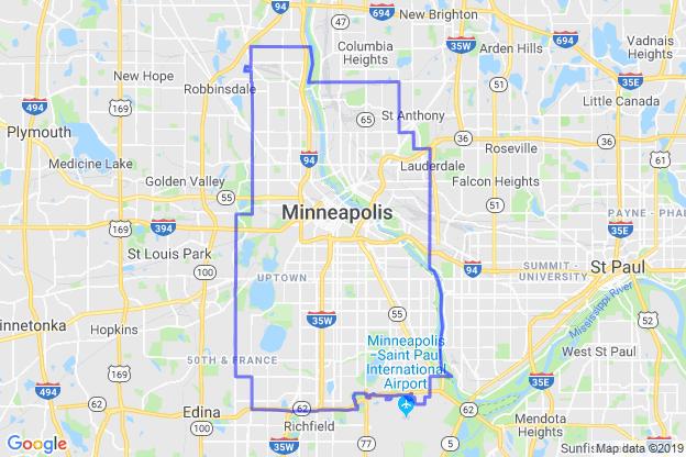 Minneapolis, Minnesota boundary image for MeridianEcon demographic report