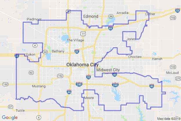 Oklahoma City, Oklahoma boundary image for MeridianEcon demographic report