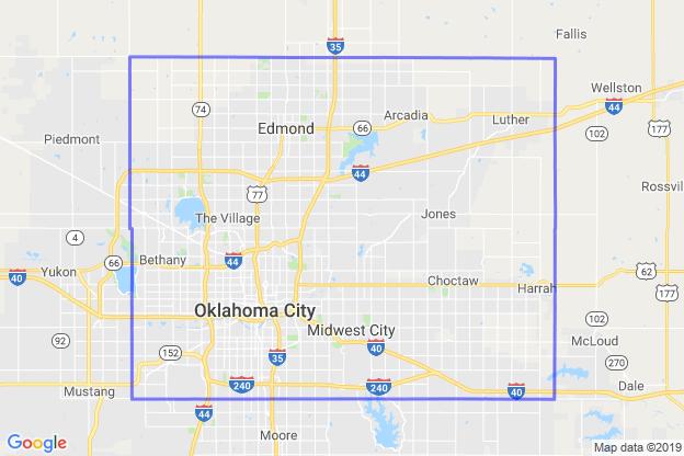 Oklahoma County, Oklahoma boundary image for MeridianEcon demographic report