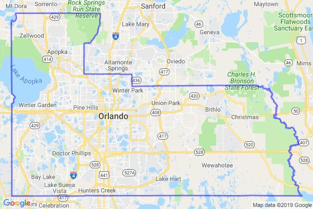 Orange County, Florida boundary image for MeridianEcon demographic report