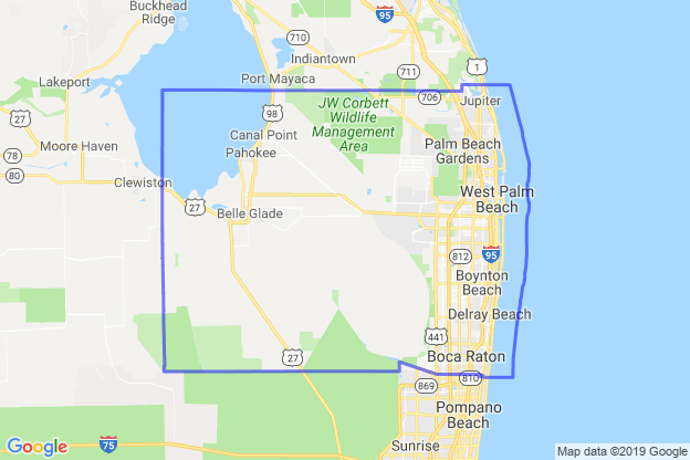 Palm Beach County, Florida boundary image for MeridianEcon demographic report