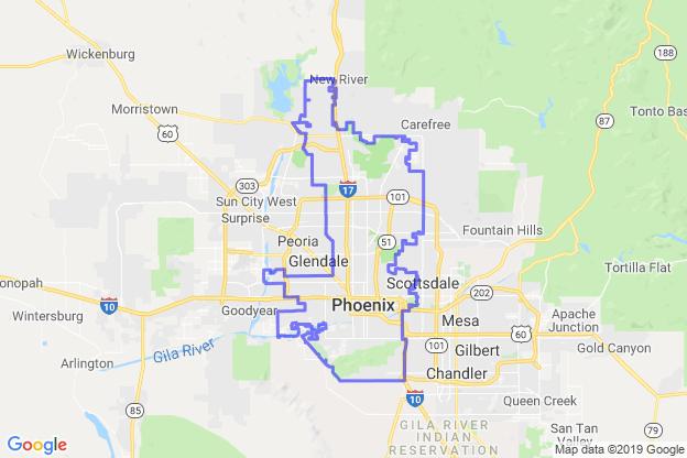 Phoenix, Arizona boundary image for MeridianEcon demographic report