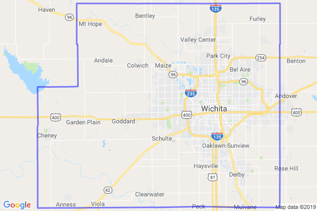 Sedgwick County, Kansas boundary image for MeridianEcon demographic report