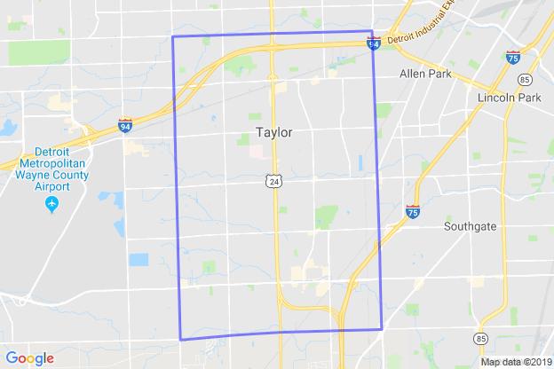 Taylor, Michigan boundary image for MeridianEcon demographic report