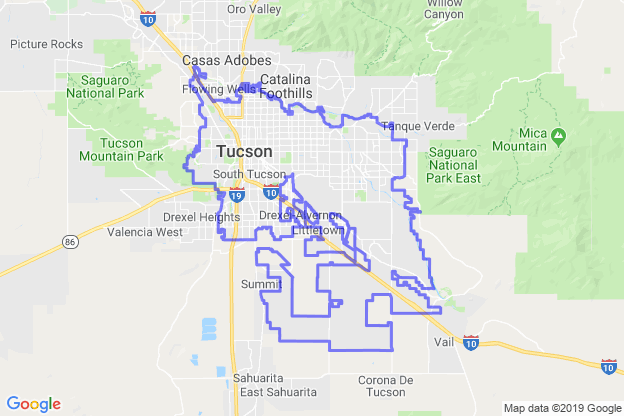 Tucson, Arizona boundary image for MeridianEcon demographic report