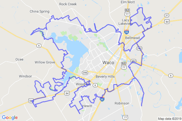 Waco, Texas boundary image for MeridianEcon demographic report