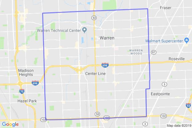 Warren, Michigan boundary image for MeridianEcon demographic report